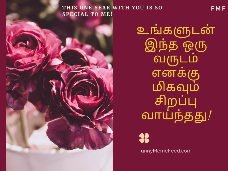 First anniversary quotes for husband in Tamil | This one year with you is so special to me! | உங்களுடன் இந்த ஒரு வருடம் எனக்கு மிகவும் சிறப்பு வாய்ந்தது!